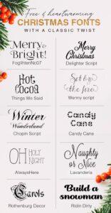 10 fuentes navideñas gratuitas con un toque clásico
