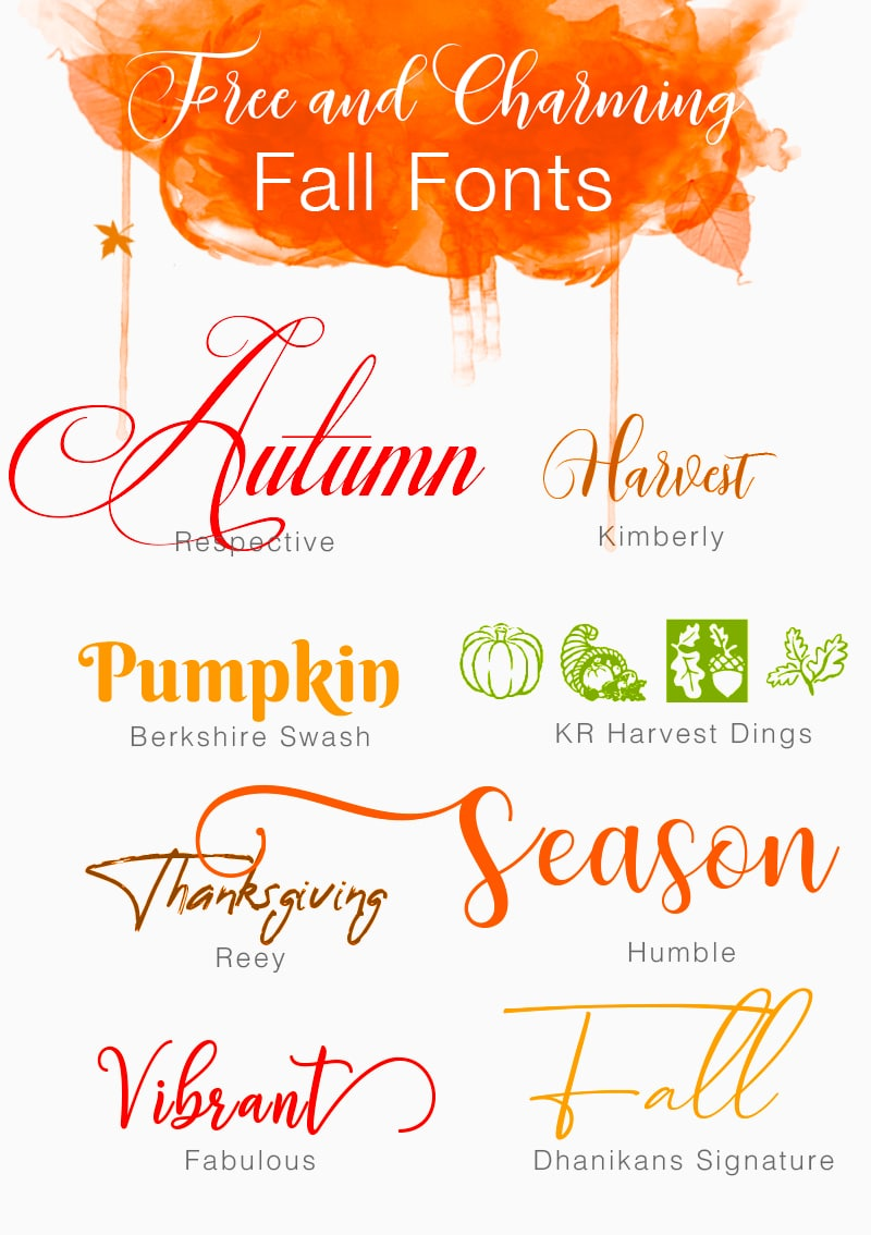 Fuentes de otoño gratuitas y encantadoras