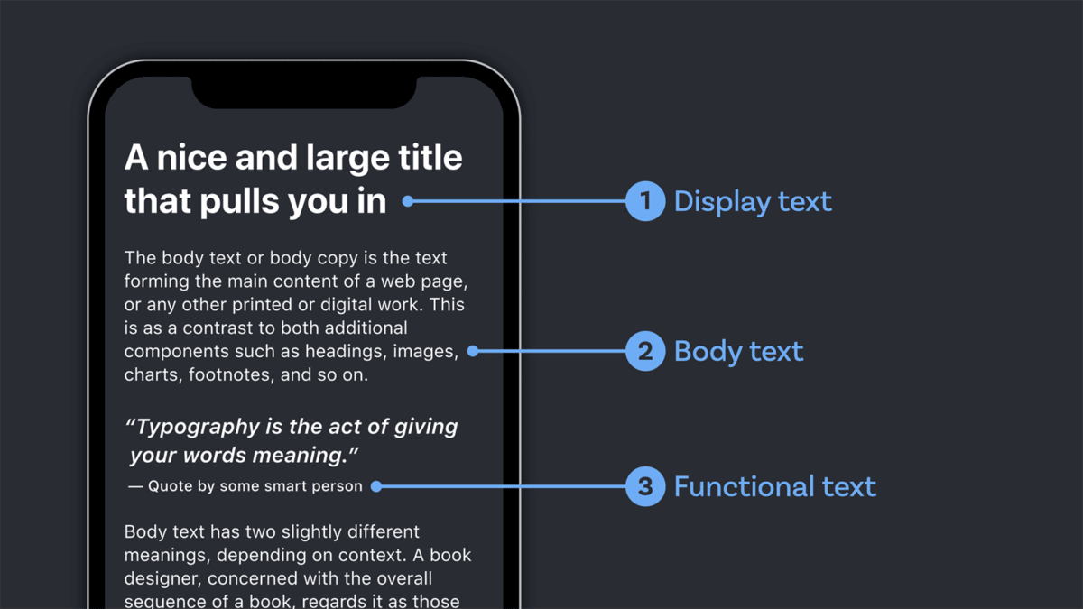 Los diferentes tipos de texto que se muestran en una aplicación.