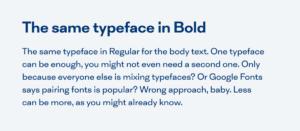 Un ejemplo de texto con el mismo tipo de letra
